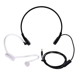 Mic Headphones Covert Acoustic Tube Throat Earpiece Headset