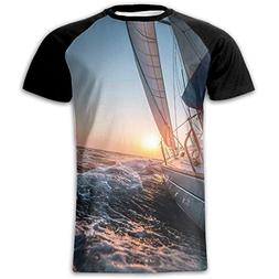 Newfood Ss Sail Boat in The Sea Waves Toward Sunset Marine A