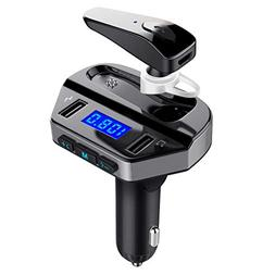 LUTU Bluetooth FM Transmitter for Car with Earphone, Wireles