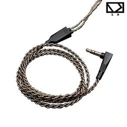 Ocamo 0.75mm Braided Silver-plated Earphones Wire for ZS3/ZS