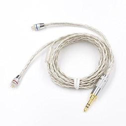 Ocamo 0.75mm 2 Pin Braided Silver-plated Earphones Wire for