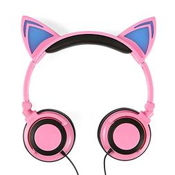 Generic Cat Ear Headphones Glowing Flashing Gaming Headset E