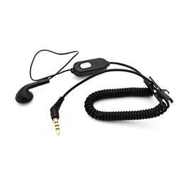 Coiled Headset Mono Hands-Free Earphone Earbud Single Headph