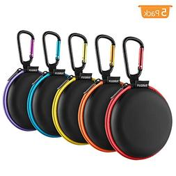 Earphone Carry Case, SUNGUY  Small Round Pocket Earbud Trave