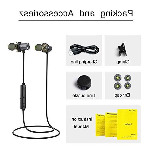Bluetooth Headphones, Dual Drivers Earphones, HD Stereo Ear Running Workout 7 Battery Cancelling