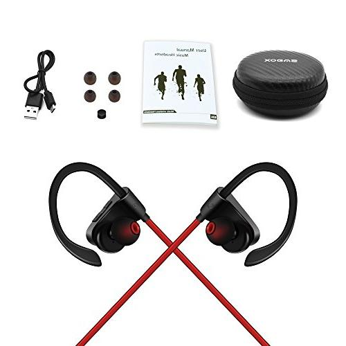 Bluetooth Headphones,SMBOX Bluetooth Earbuds Built Mic Sweat/Waterproof Stereo Workout– Red
