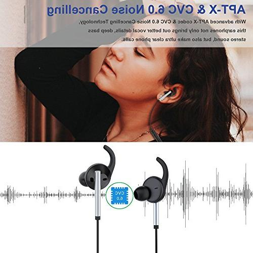 Active Cancelling Earphones Microphone, Zhicity Bluetooth in Bass 8 for Travel, Work