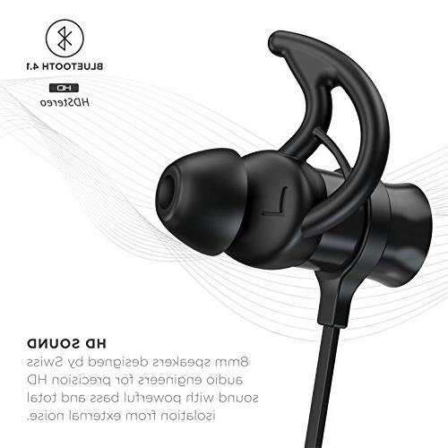 Phaiser Bluetooth Headset Mic and Sweatproof Guarantee Earbuds for Blackout