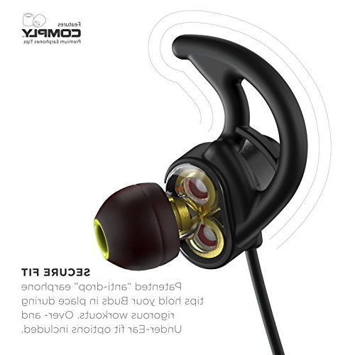 Phaiser Bluetooth Headphones with Dual Graphene Drivers and AptX Bluetooth 5.0 Sport Earphones Mic and Lifetime Guarantee Wireless for Blackout
