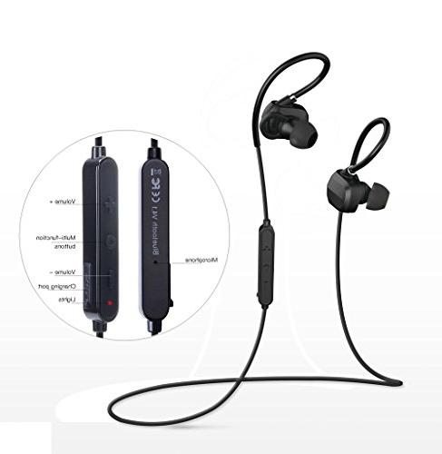 Beeasy Bluetooth Wireless Sport Headset APTX Splash Secure for with Built-in