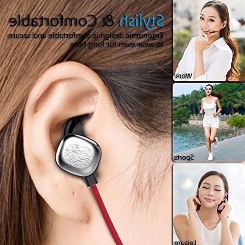 KOBWA Bluetooth Magnetic Sound In-Ear Earbuds & Earphones, CVC Noise NFC Headset for &