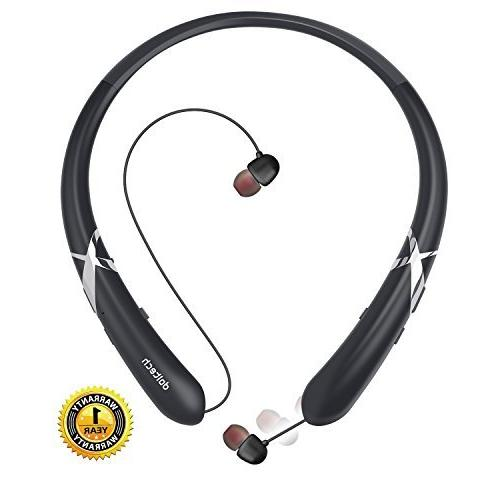 bluetooth headphones doltech retractable earbuds