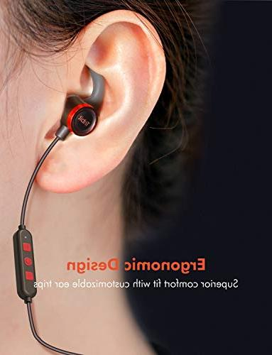 Tribit Earbuds Microphone - Wireless Rock-Solid Bass, IPX5 playtime Headphones, Red