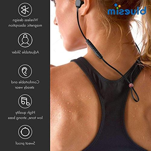 Bluesim with Microphone - 4.1 Wireless Bluetooth Earbuds for Super Magnetic Earphones Noise
