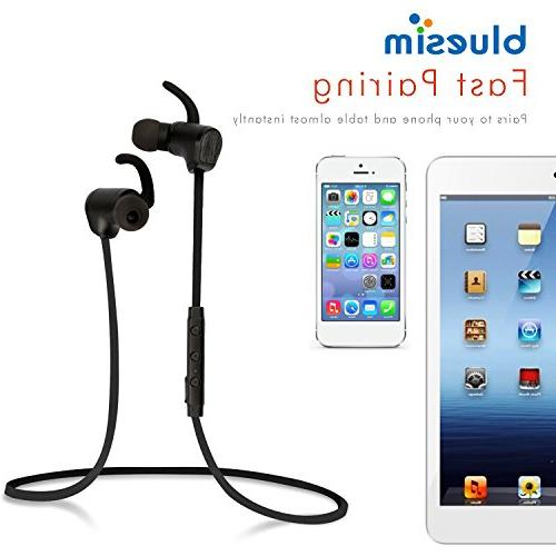 Bluesim Bluetooth Headphones with Microphone - Wireless Bluetooth Earbuds for Running, Super Noise Cancelling Bluetooth