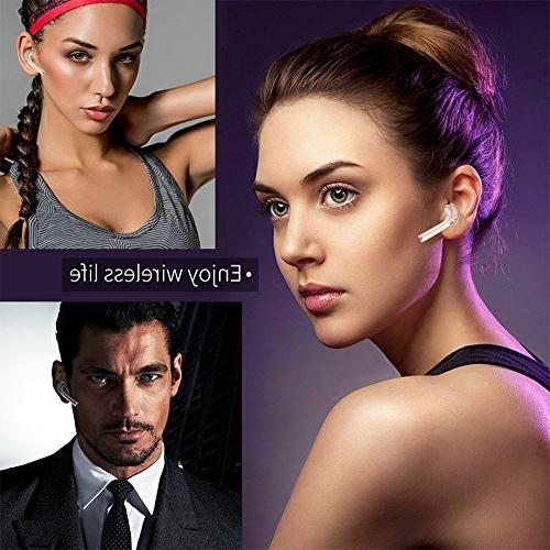 elegantstunning Bluetooth Wireless Earpiece Noise Cancelling Mic, Invisible Earbud Compatible for iPhone Driving