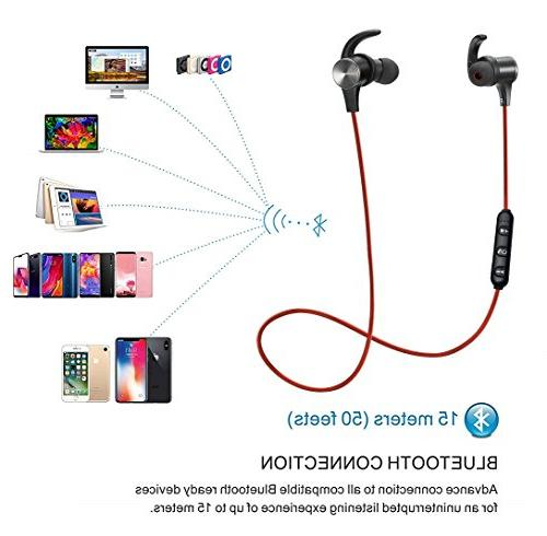 Bluetooth Headphones Waterproof IPX7, G.P Sport, Stereo Earphones Case, 7-9 Hrs Playback Noise Cancelling