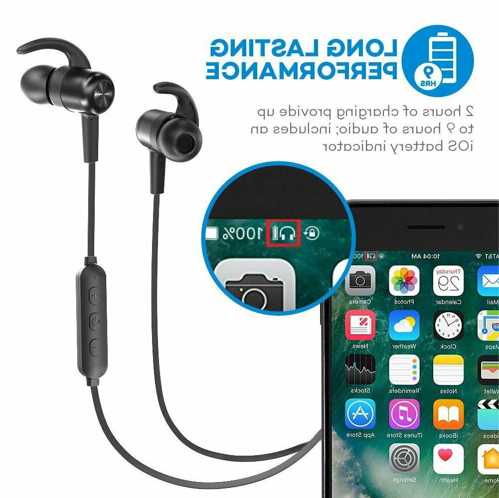 Bluetooth Headphones TaoTronics Earbuds Sport 9 Hours 4.2....
