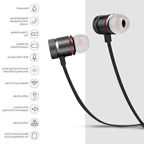 Bluetooth Wireless Magnetic Bluetooth Earbuds,Snug for Mic,Compatible iPhone/Samsung/Android
