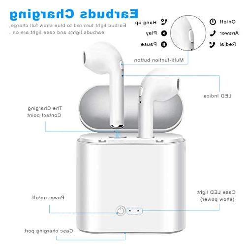 Bluetooth Headphones Wireless Hands-Free Isolating with Earpiece 7 7 Plus 6S 6S Plus, Galaxy S7 S8