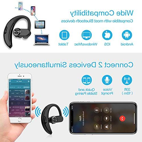 AVANTY Headset Wireless Bluetooth Earpiece Earbuds Headphones with Compatible iPhone Android