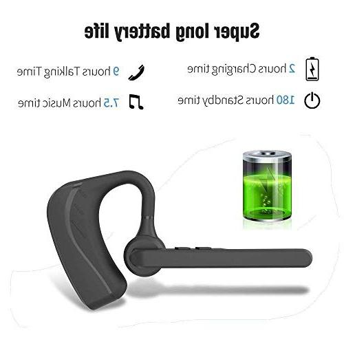 Bluetooth Wireless V4.1 Ultralight HandsFree Earphone with Mic for Business/Office/Driving-Black