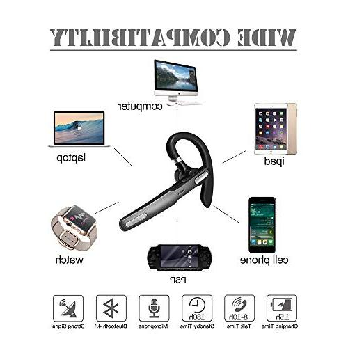 Bluetooth Headset, Wireless Bluetooth Earpiece Noise Cancellation Mic for Driving/Business/Office, iPhone and Android