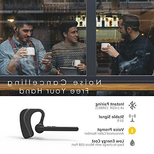 Bluetooth Wireless v4.1 Cell w/Mic Hrs for Business/Office/Driving/iPhone/Android