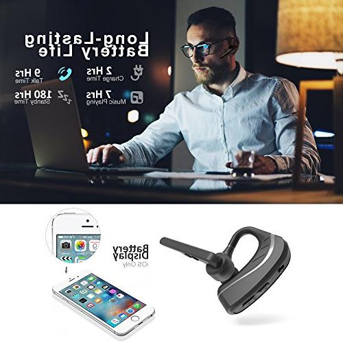 Bluetooth Headset Wireless Headphones in Ear v4.1 for Cell w/Mic Hrs for