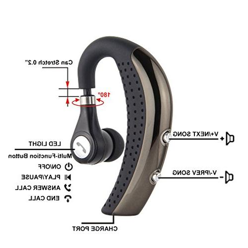 Bluetooth Headset,V4.0 Earpiece Hands-Free Business Noise Earphones Lightweight Mic Android Phones