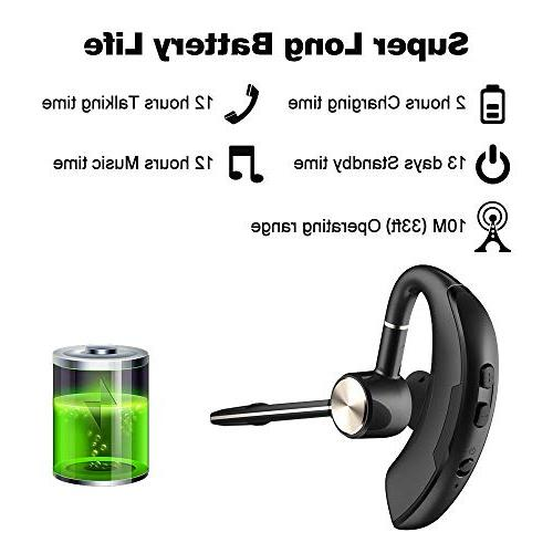 Wanny Denton Business Wireless Earbud Mic Handsfree Office Driving iPhone iOS Cell Black