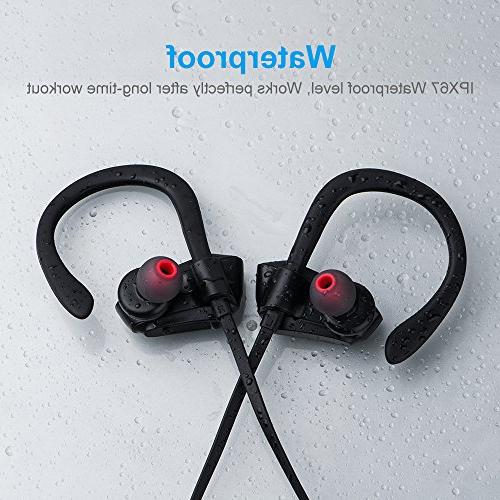 Bluetooth IPX7 8 Playing HD Stereo Noise Cancelling In Gym Workout, Hiking etc.