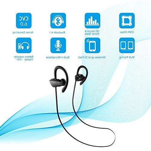 Bluetooth Audbum IPX7 Sports 8 Hours Playing HD Stereo Earbuds In Ear Headsets Gym Running Hiking