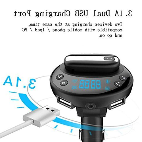 Car Bluetooth Headset, Headphones Multifunction Car Transmitter Phone USB