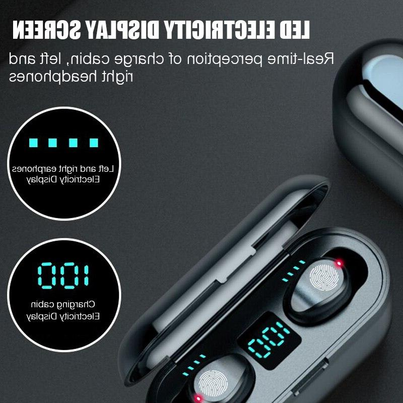 F9 TWS Wireless <font><b>Bluetooth</b></font> Earphone 2000mAh Display For
