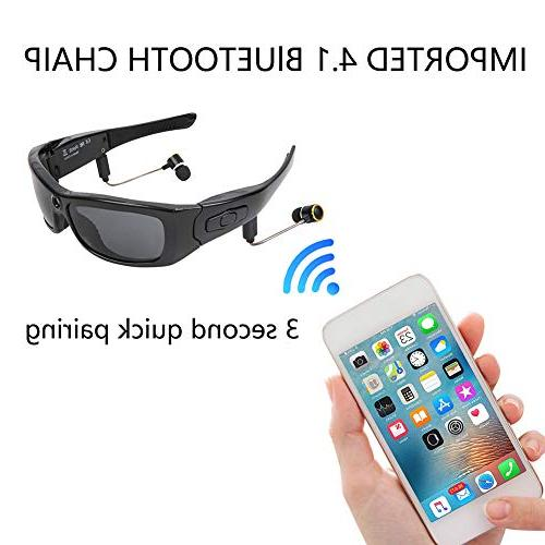OOLIFENG Full HD Camera with Wide Angle Mini Bluetooth Sunglasses for Sports