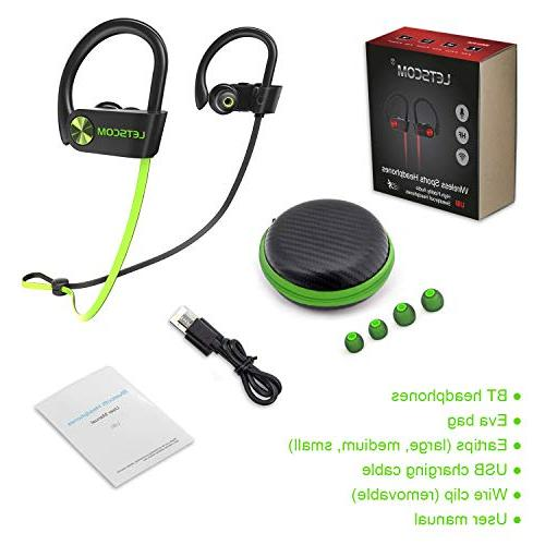 LETSCOM Bluetooth Bluetooth 4.1, Stereo Earbuds Noise Cancelling Headset Workout, Gym, Hours
