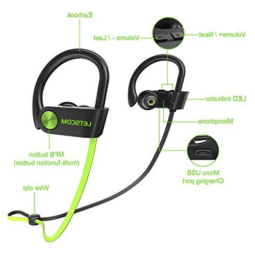 LETSCOM Waterproof, Bluetooth 4.1, Stereo Sweatproof Noise Workout, Running, Gym, 8 Hours Play
