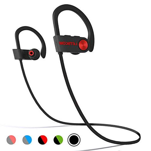 LETSCOM Bluetooth Headphones Waterproof, Bluetooth 4.1, Stereo Earbuds Noise Headset for Hours Play