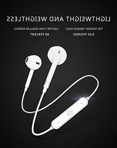 LuxureFan Bluetooth Headphones for Earphone with Microphone and Volume for Iphone/Android/Samsung/Tablet Series-White