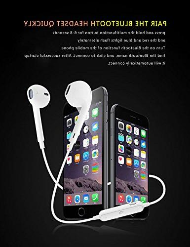 LuxureFan Wireless for Neck-Hang Earphone with Microphone Volume Control Series-White
