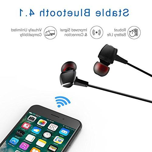 Cornmi Magnet Earbuds Bluetooth Headphones Bluetooth Earhook Wireless Headset CVC Reduction, Built-in Mic, Black