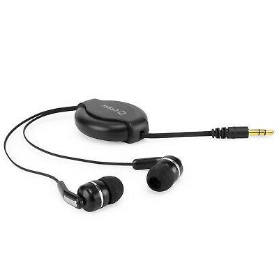 Organized Retractable In-Ear Earphones Black