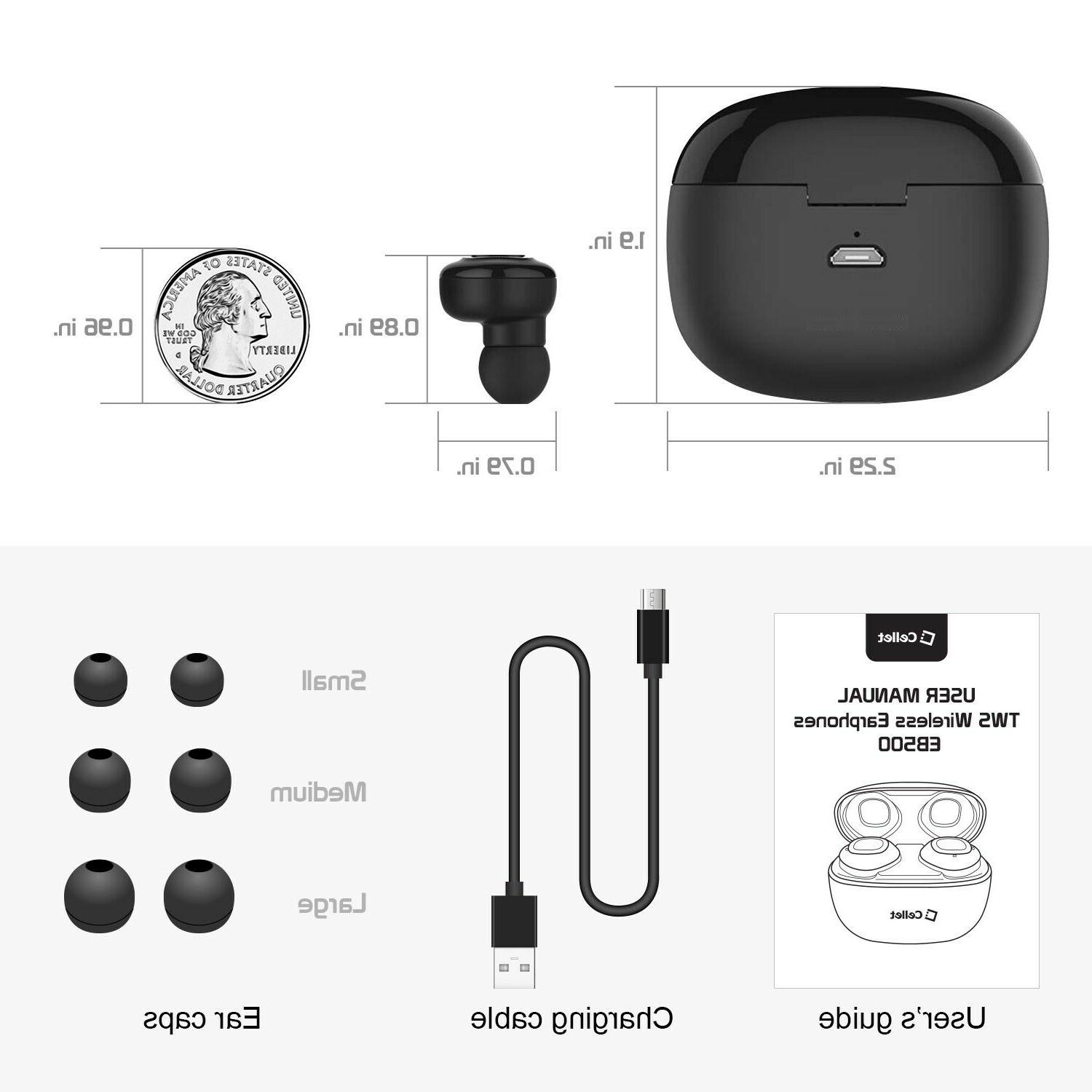 Premium True Earbuds with Case,Voice Notifications,