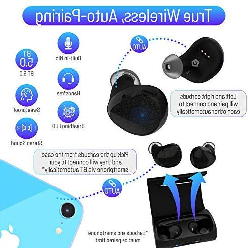 Cobble Pro Wireless Earbuds 5.0 Headset 5.0 with Charging Wireless One Auto Pairing, Mic, 30H