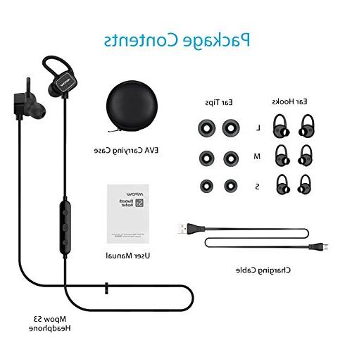 Headphones, IPX5 Earbuds Sport Running Headphones Mic, Fit for Gym Workout