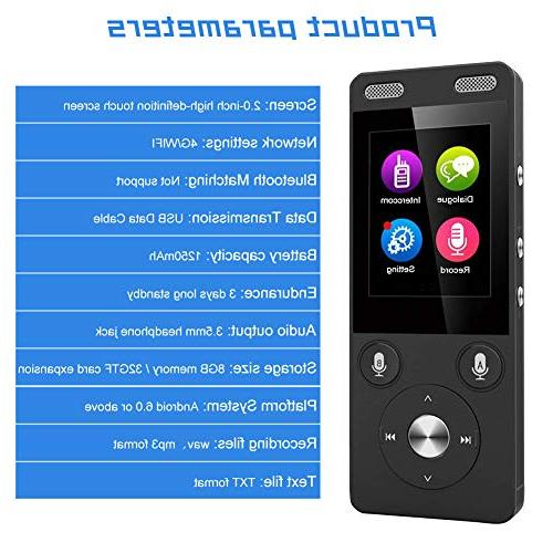 WiFi&4G 2.4 IPS Capacitive Touch Way Translator Intercom 72 Languages for Travel Shopping