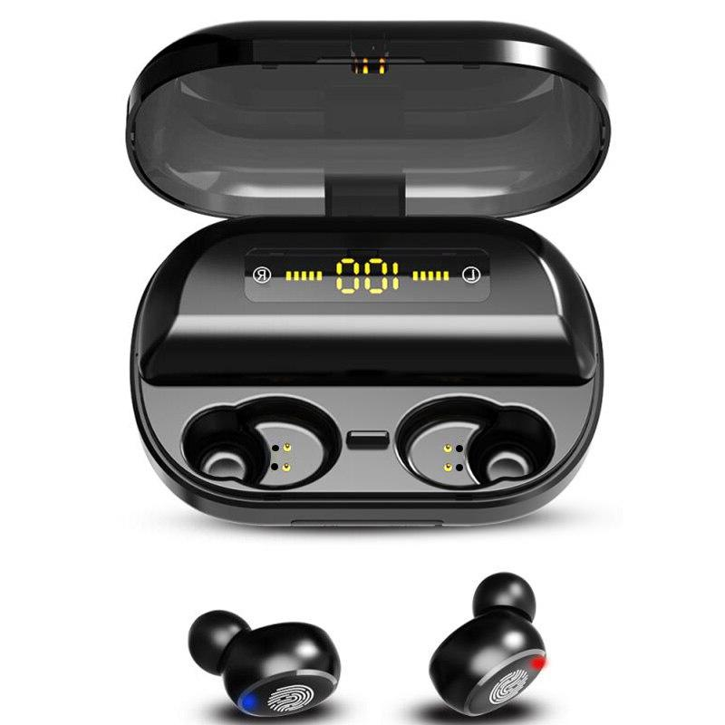 TWS 5.0 Headphones Wireless Stereo IPX7 <font><b>Earbuds</b></font> 4000mAh LED Display Elair
