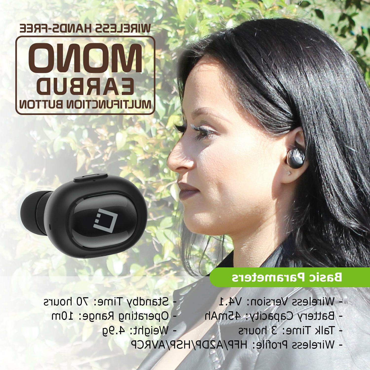 Universal Compact Bluetooth Wireless Mono Earbud for