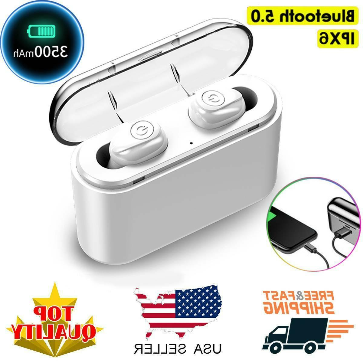 US Waterproof Bluetooth Earbuds Headset Noise Cancelling